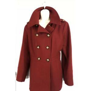 Michael Kors Coat XL Dark Red Double Breasted XMAS